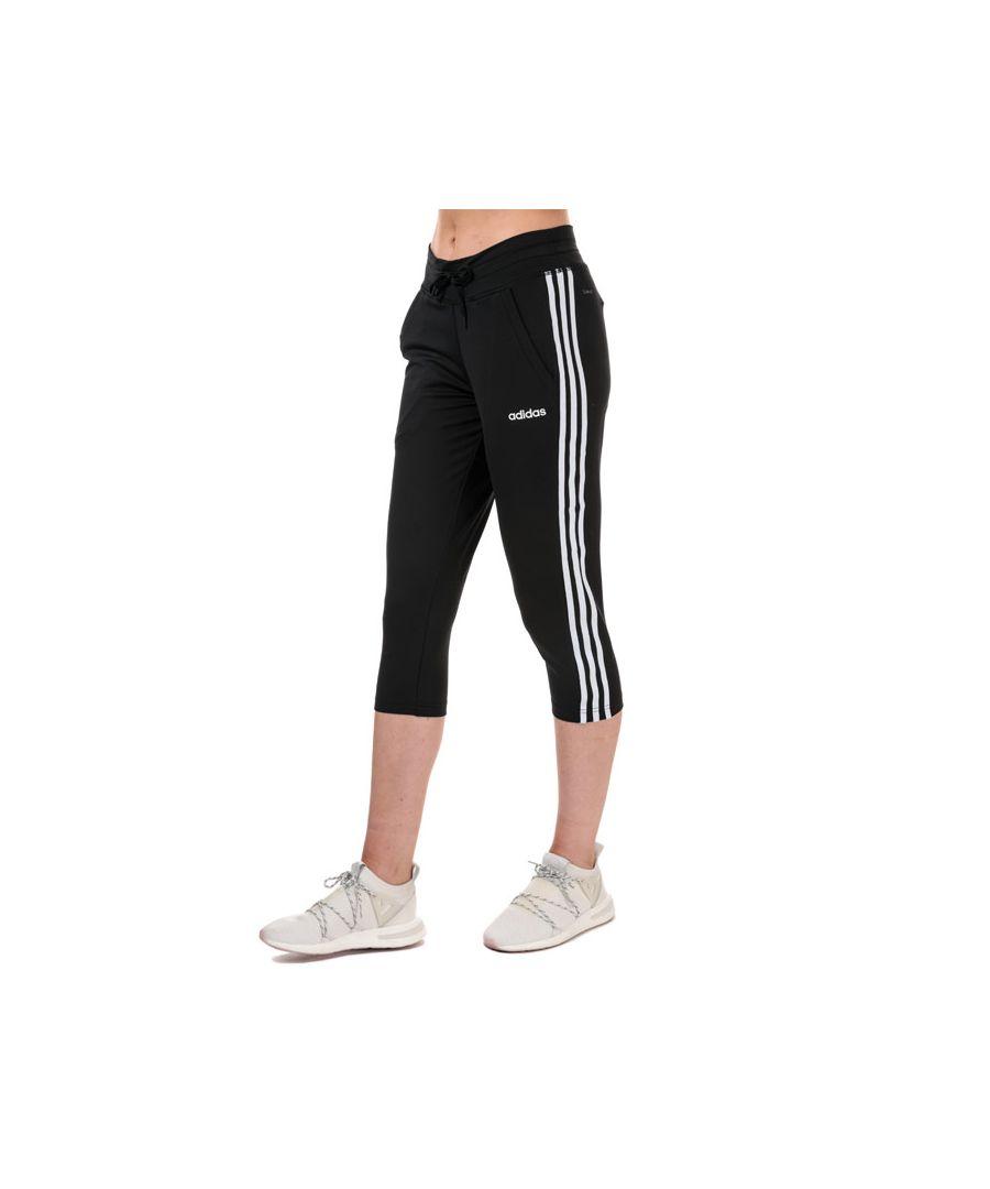 Image for Women's adidas D2M 3-Stripes 3 Quarter Jog Pants in Black-White