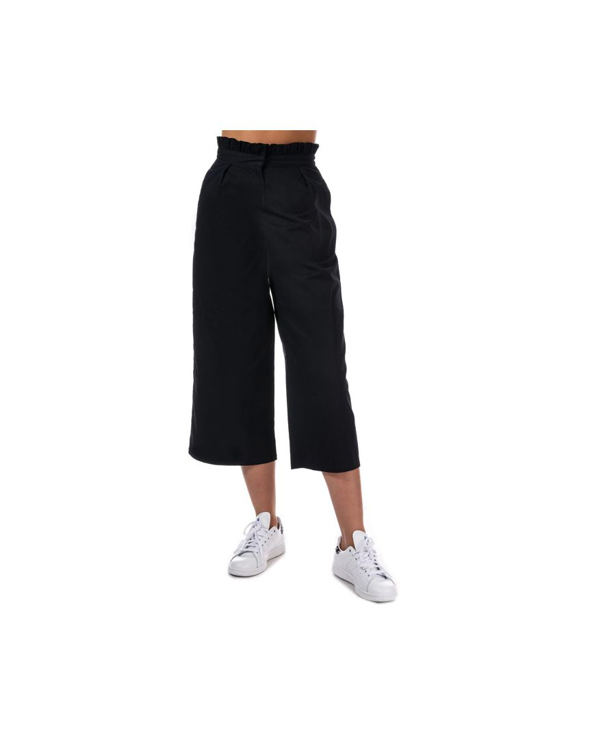 Image for Women's Daisy Street Frill Waist Cropped Trousers in Navy