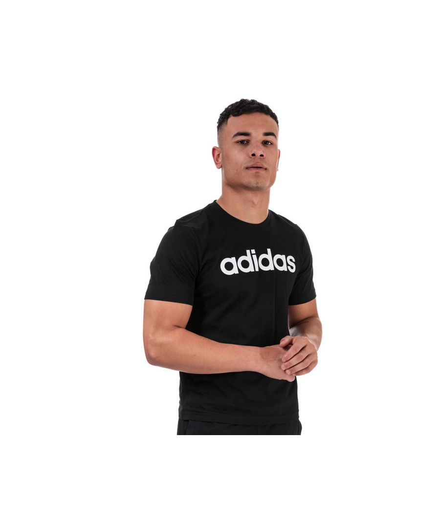 Image for Men's adidas Essentials Linear Logo T-Shirt in Black