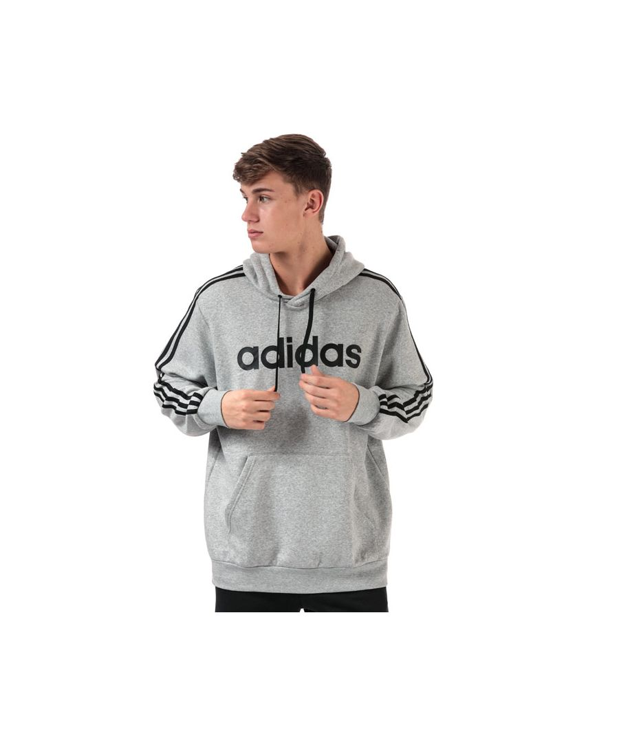 Image for Men's adidas Essentials 3-Stripes Hoody in Grey Marl