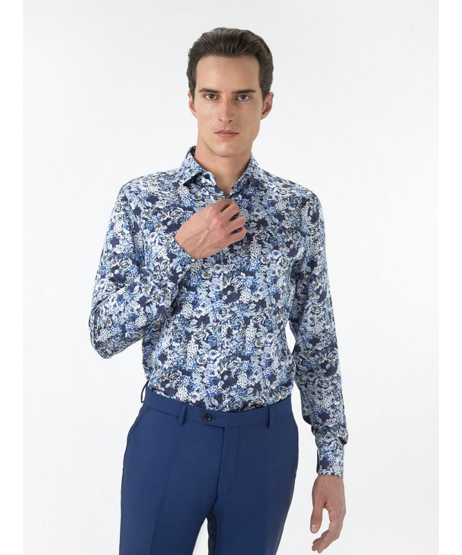 Image for Deco Floral Silk Print Shirt Navy