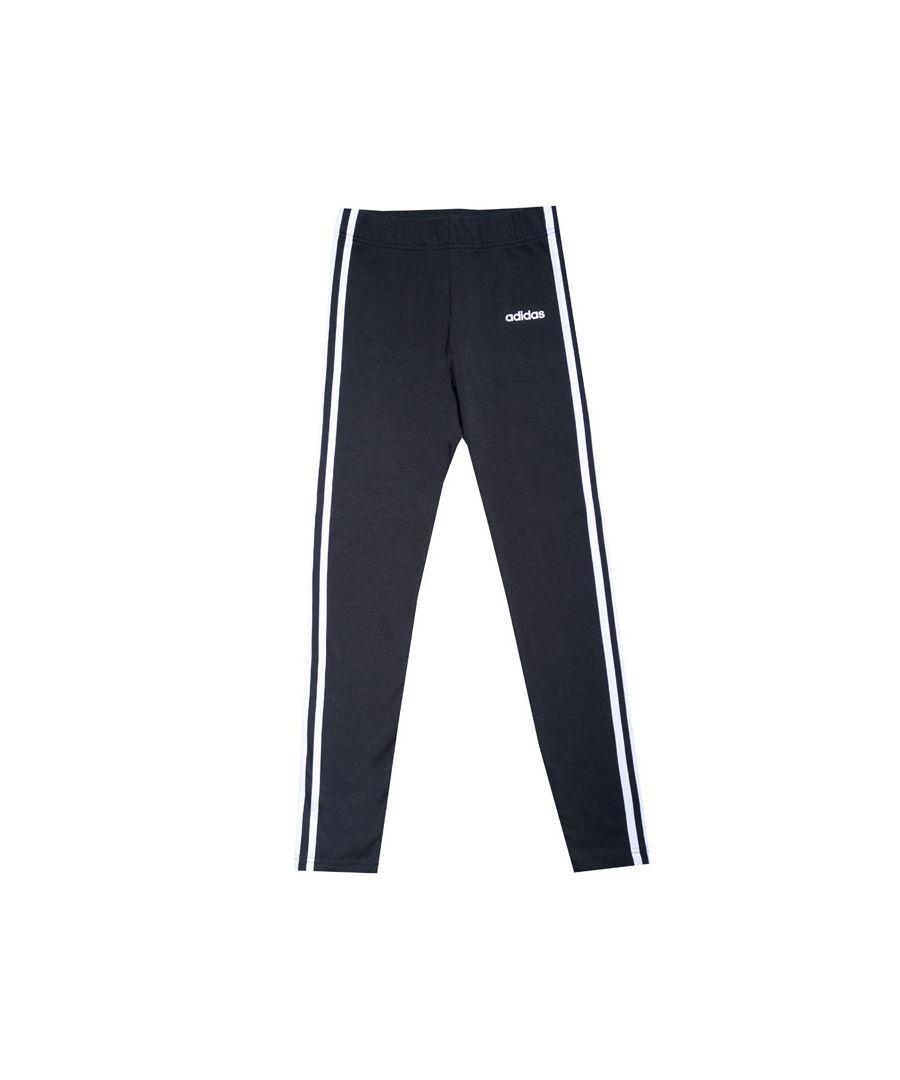 Image for Girl's adidas Junior 3 Stripe Tight Leggings in Black