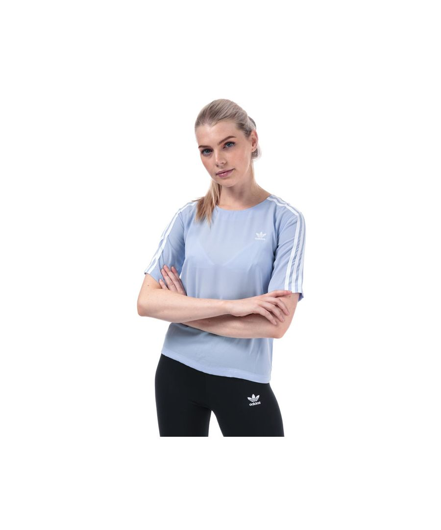 Image for Women's adidas Originals 3-Stripes T-Shirt in Light Blue