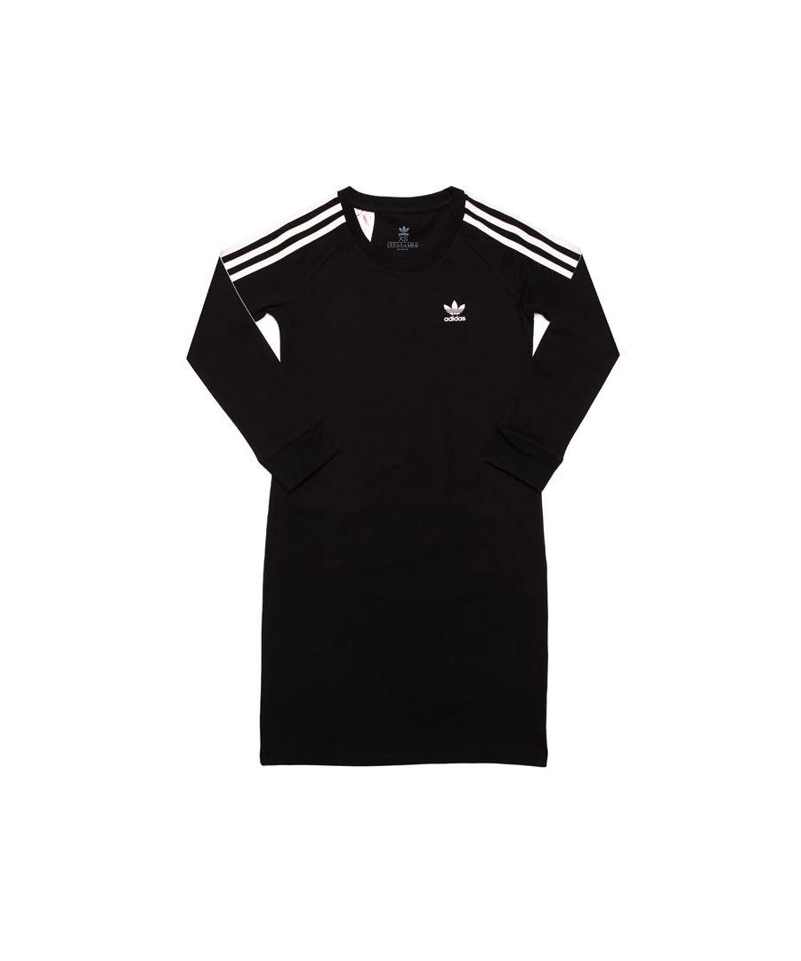 Image for Girl's adidas Originals Junior 3-Stripes Dress in Black-White