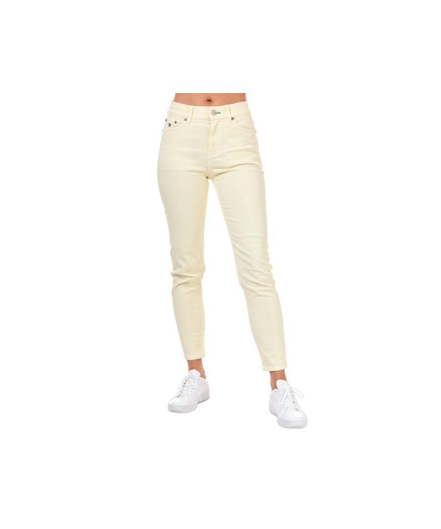 Image for Tommy Hilfiger Women's 90's Girlfriend High Waist Crop Jeans in Yellow