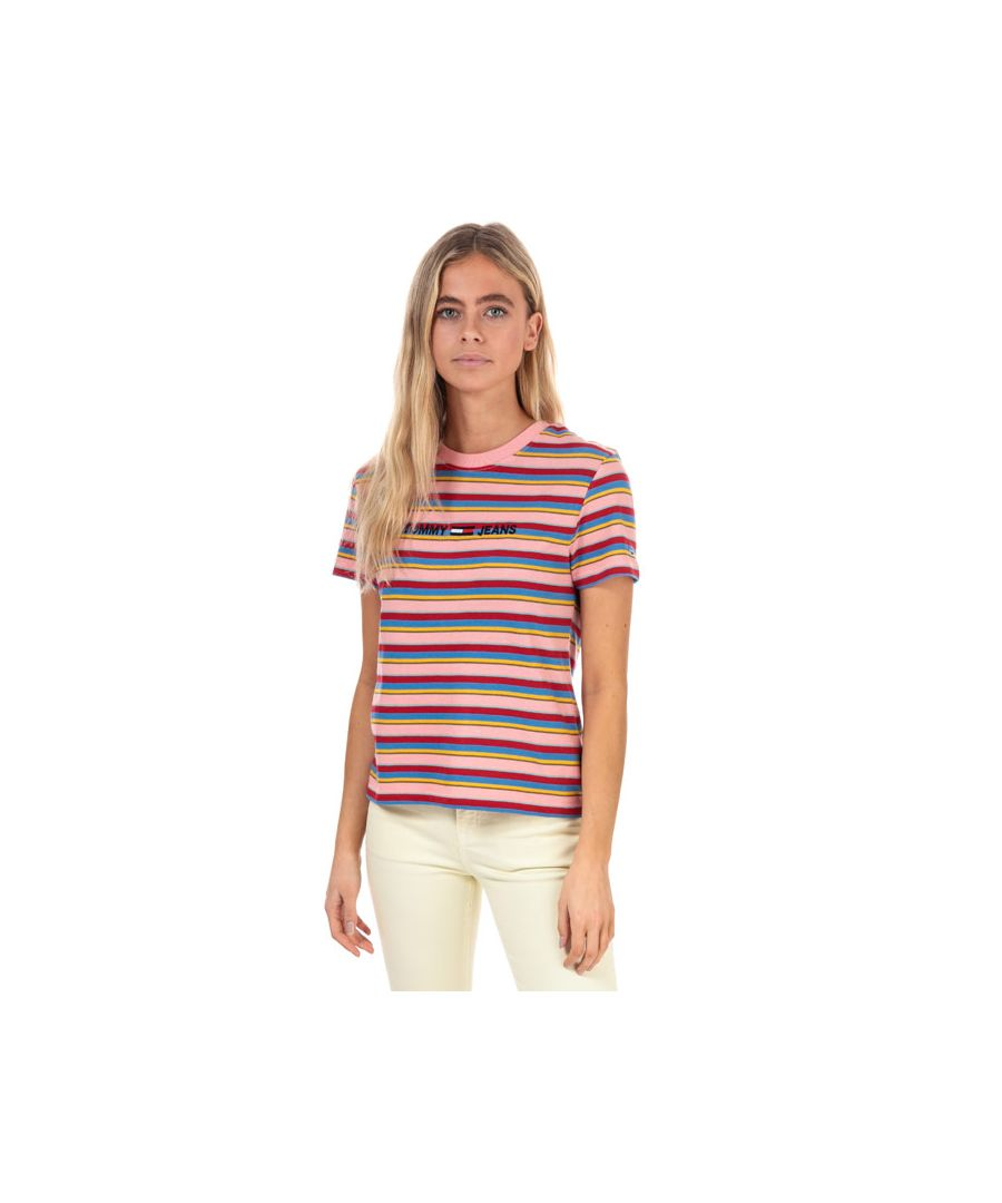 Image for Women's Tommy Hilfiger Bold Stripe T-Shirt in Pink