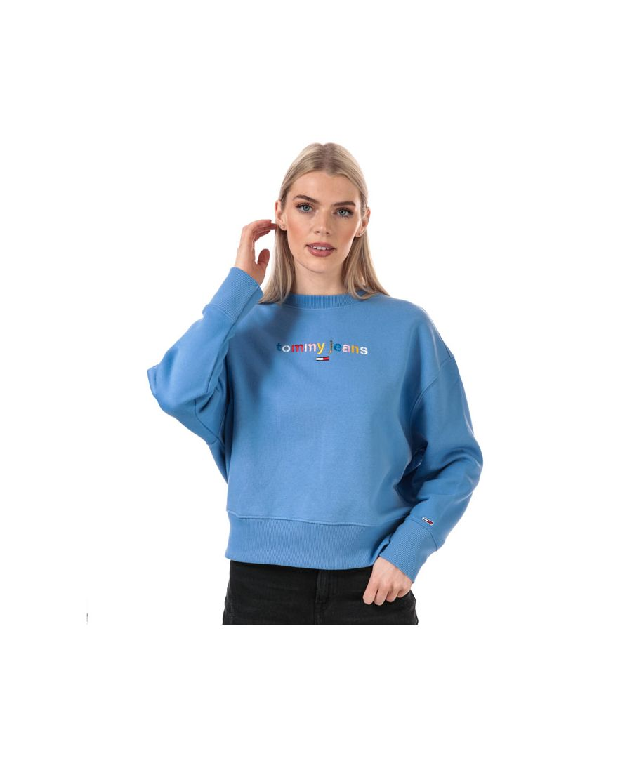 Image for Women's Tommy Hilfiger Multicolour Logo Relaxed Fit Sweatshirt in Blue
