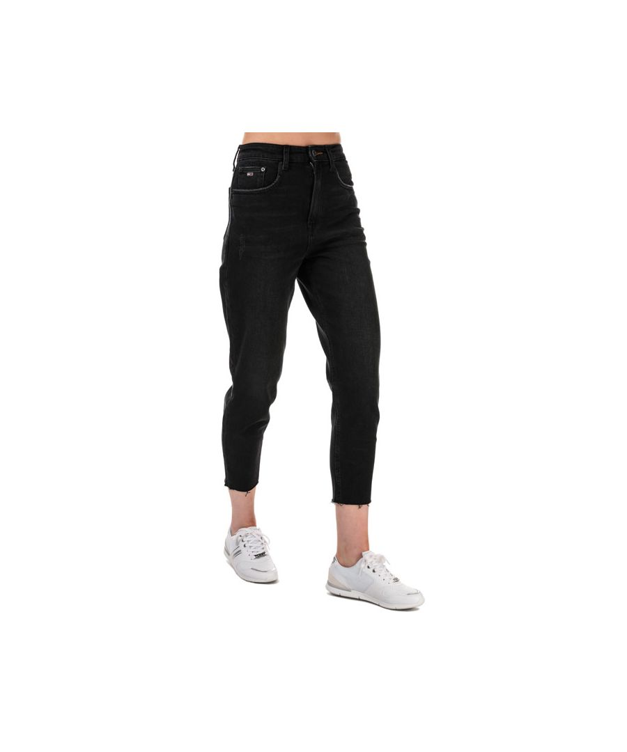 Image for Women's Tommy Hilfiger High Rise Tapered Mom Fit Jeans in Black