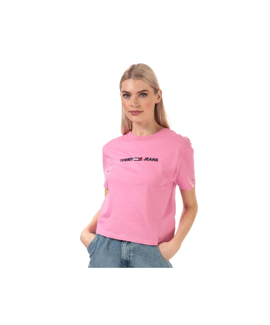 Image for Women's Tommy Hilfiger Modern Logo Cropped Fit T-Shirt in Pink