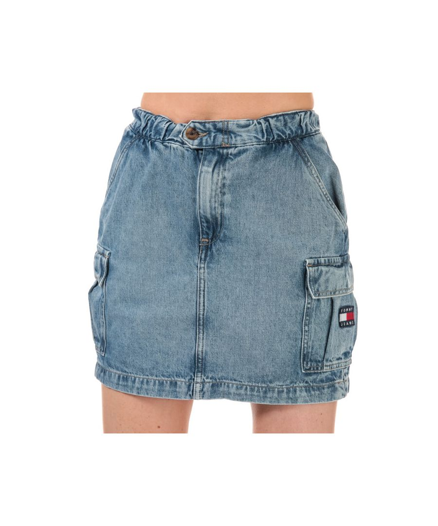 Image for Women's Tommy Hilfiger Denim Cargo Mini Skirt in Light Blue