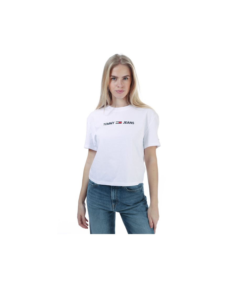 Image for Women's Tommy Hilfiger Organic Cotton Logo T-Shirt White 6in White