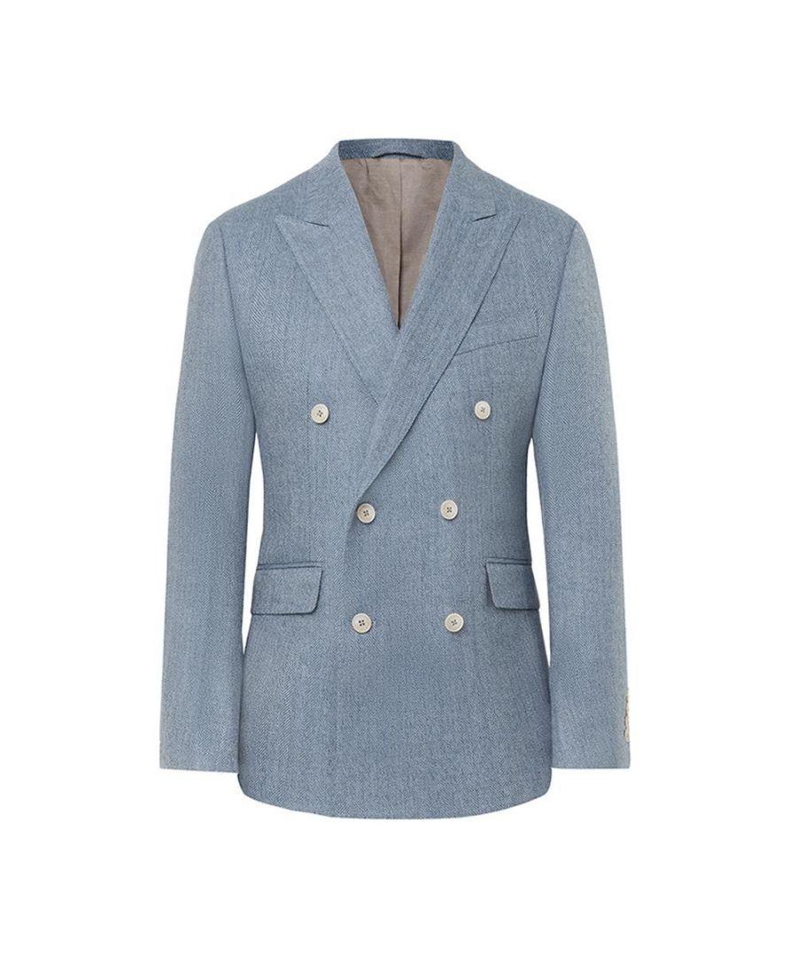 Image for Men's Hackett, Wool & Linen Herringbone DB Jacket in Blue