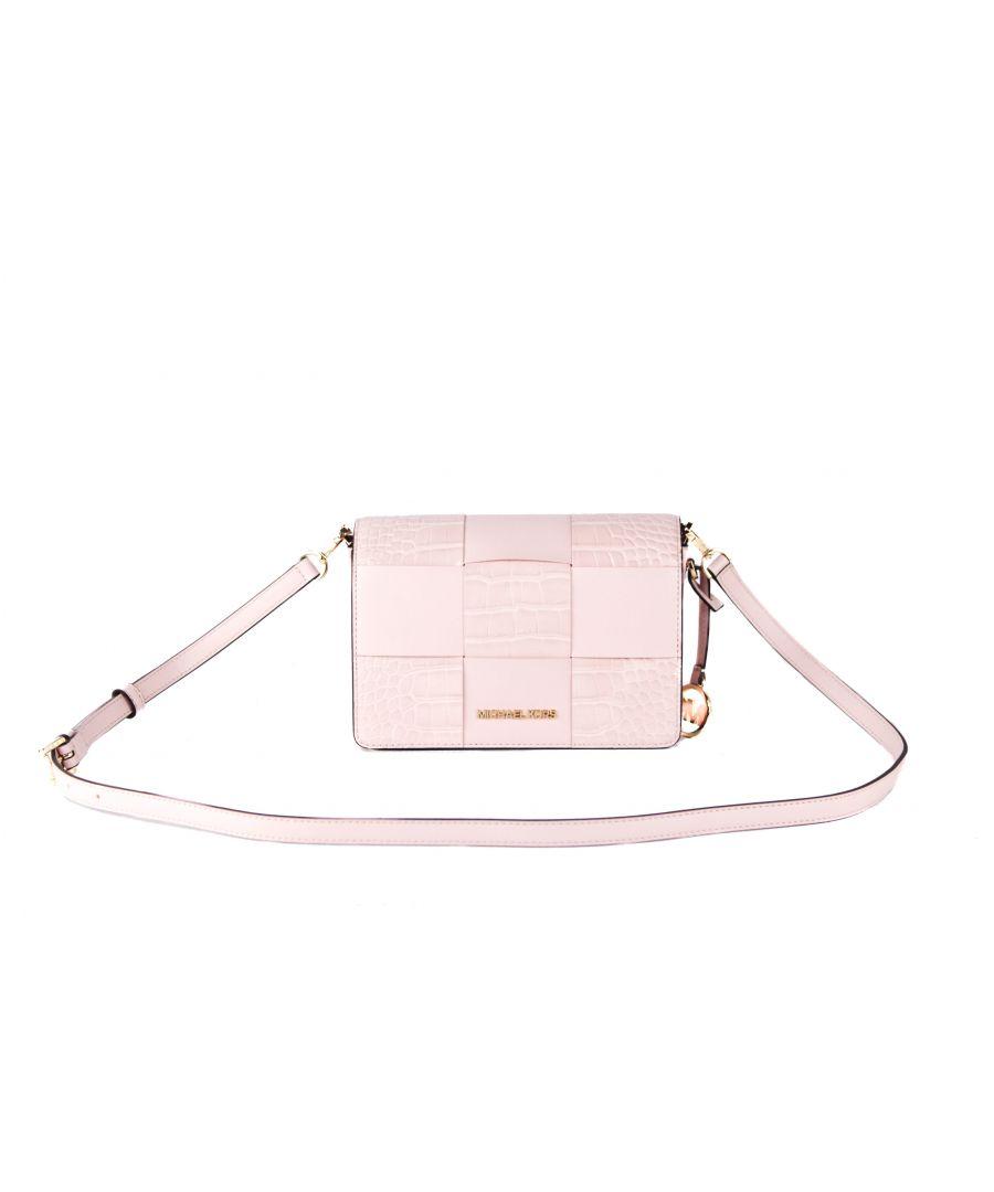 Image for Michael Kors Mercer Small Patent Leather Crocodile Print Flap Clutch Bag Crossbody Handbag