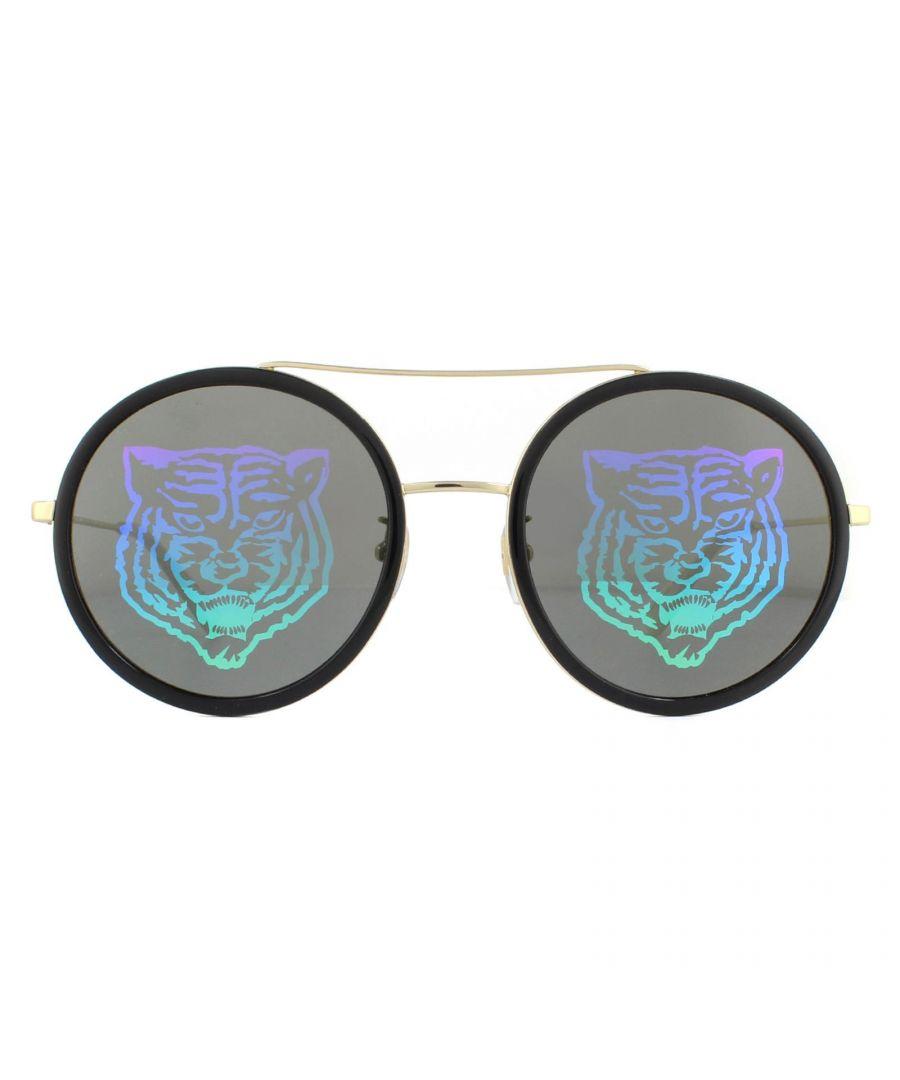 Image for Gucci Sunglasses GG0061S 014 Black Gold Grey with Multicolour Gradient Tiger Mirror