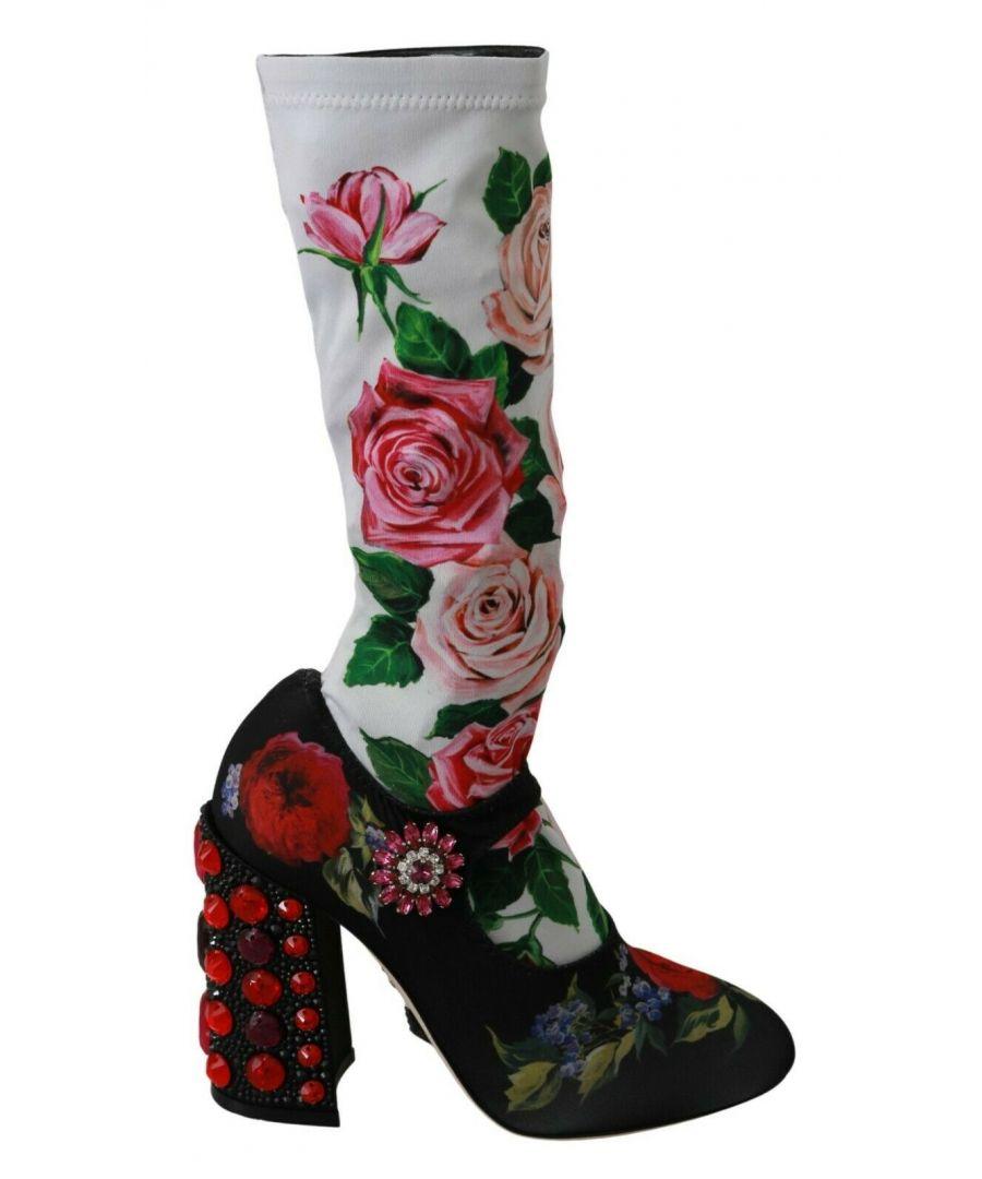 Image for Dolce & Gabbana Black Floral Crystal Sock Boots Shoes