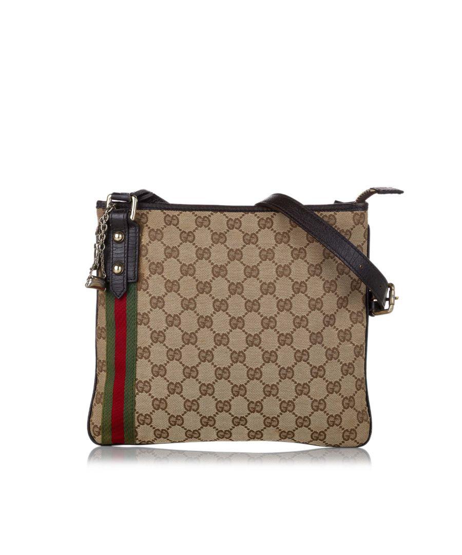 Image for Vintage Gucci GG Canvas Jolicoeur Crossbody Bag Brown