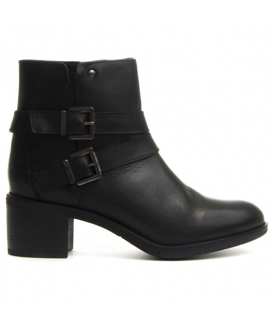 Image for Purapiel Double Buckle Heeled Ankle Boot in Black