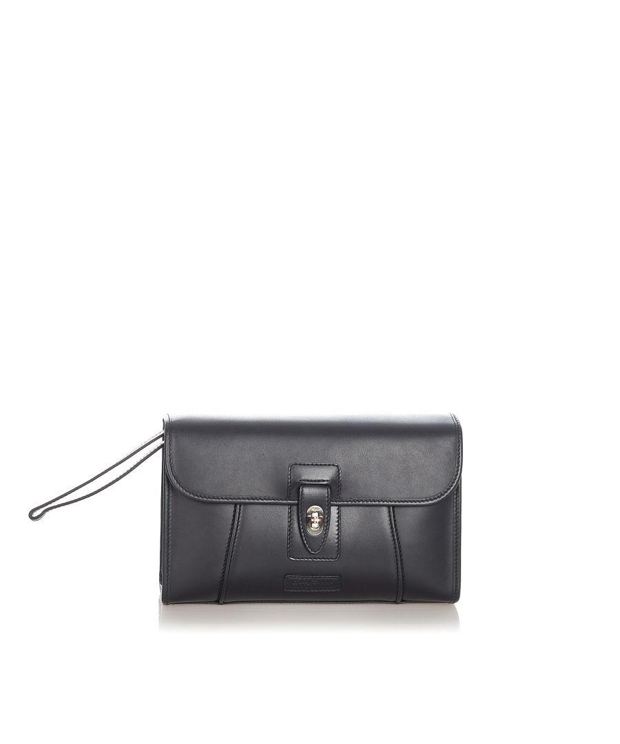 Image for Vintage Ferragamo Leather Clutch Bag Black