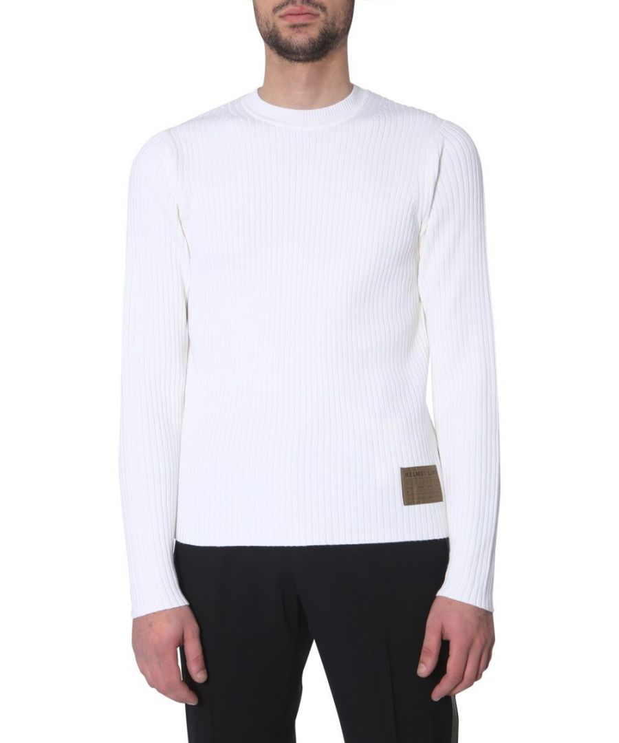 Image for HELMUT LANG MEN'S J04HM710Q5W WHITE COTTON SWEATER