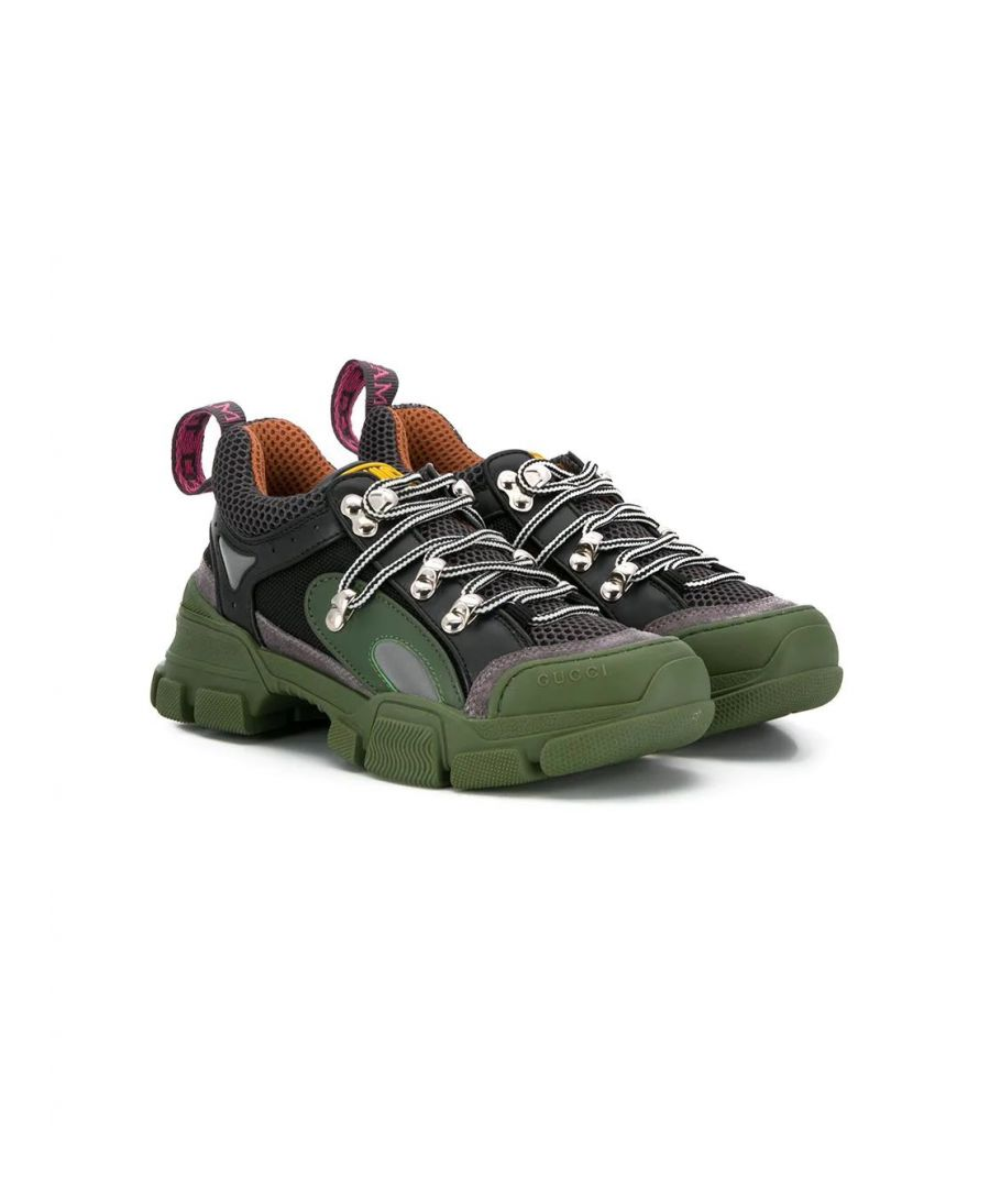 Image for GUCCI BOYS 579202GGZC01262 GREEN LEATHER SNEAKERS