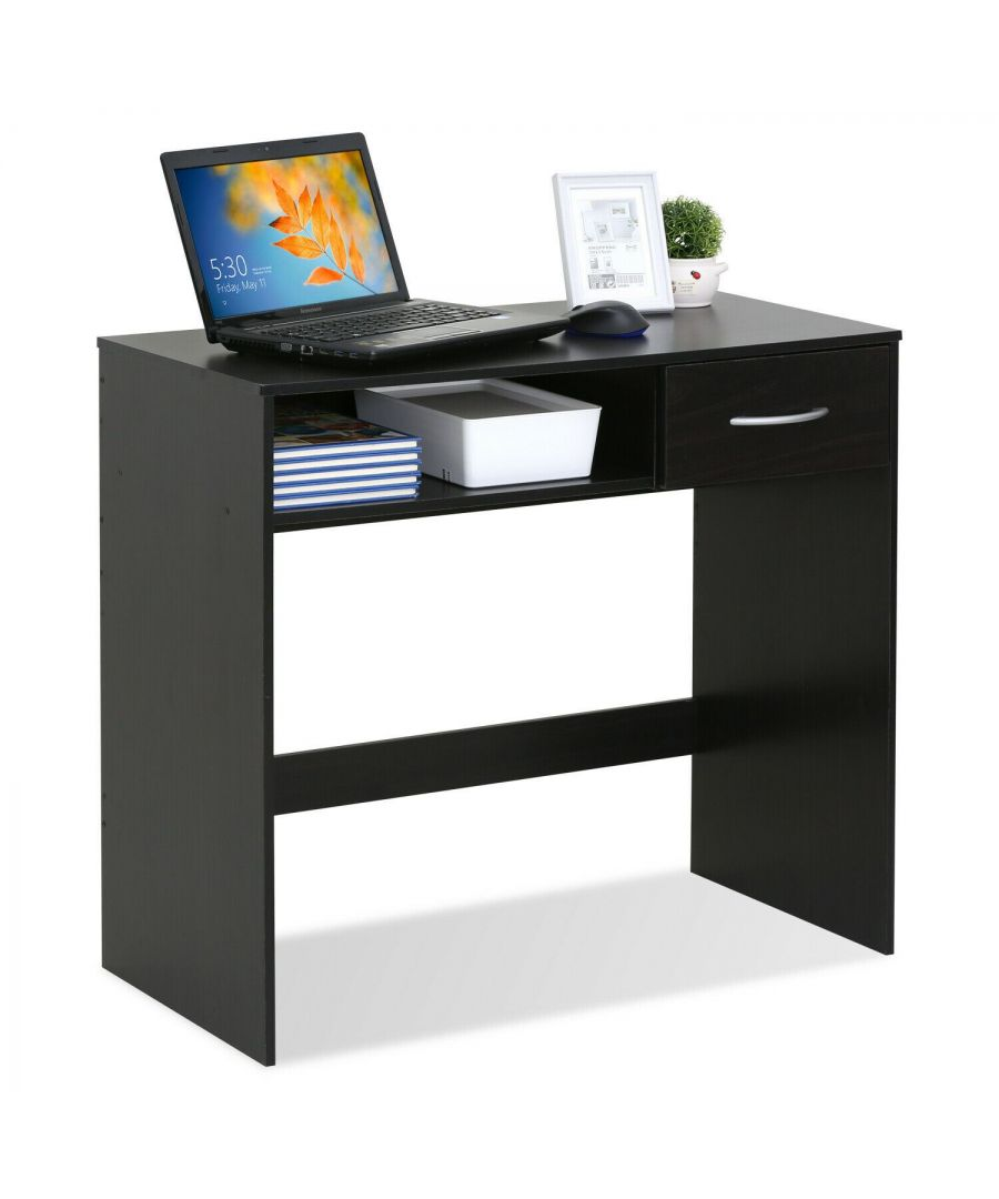 Image for Furinno JAYA Computer Study Desk with Drawer - Espresso