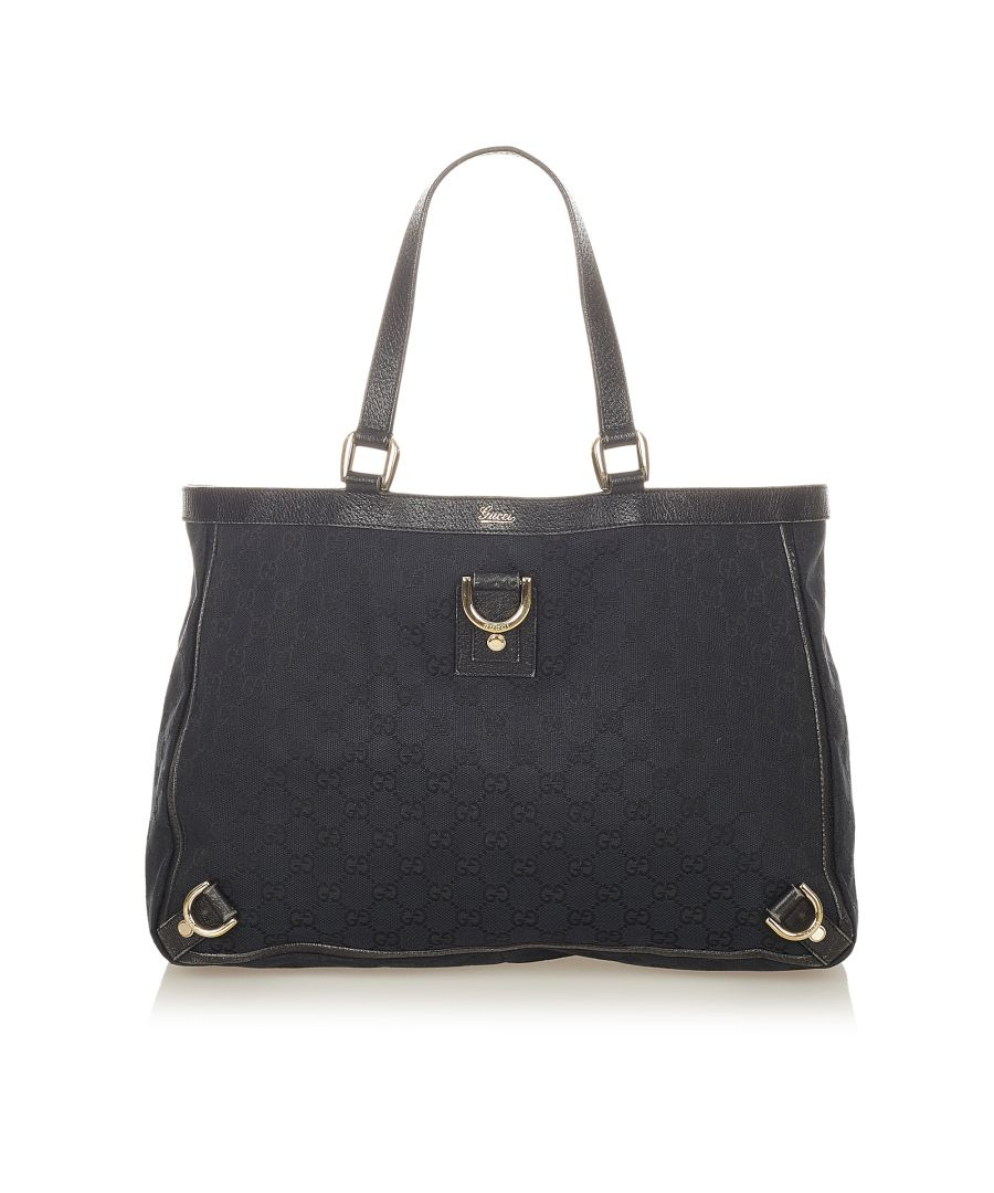 Image for Vintage Gucci GG Canvas Abbey D-Ring Tote Bag Black