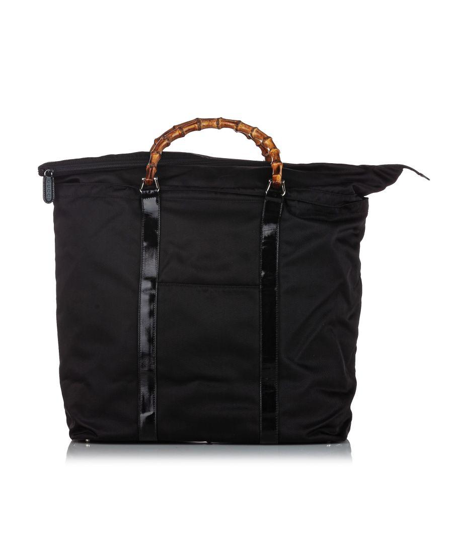 Image for Vintage Gucci Bamboo Nylon Tote Bag Black