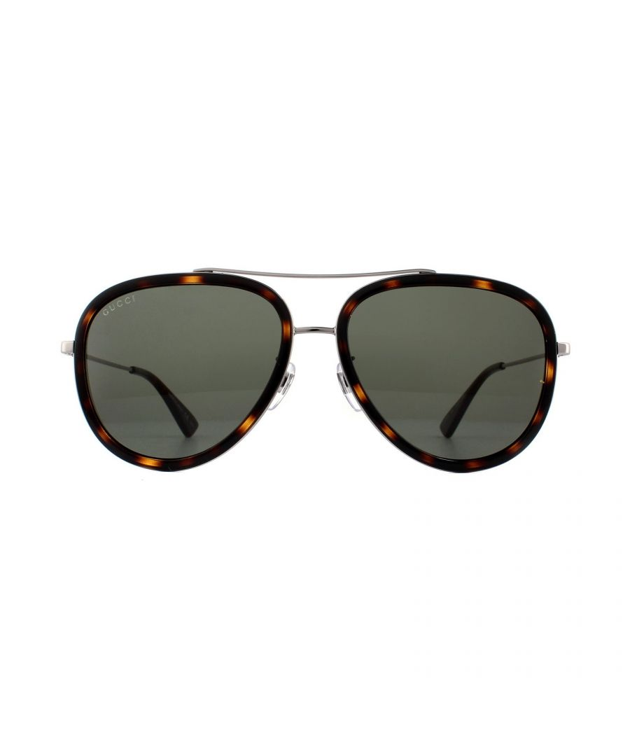 Image for Gucci Sunglasses GG0062S 002 Havana and Ruthenium Green