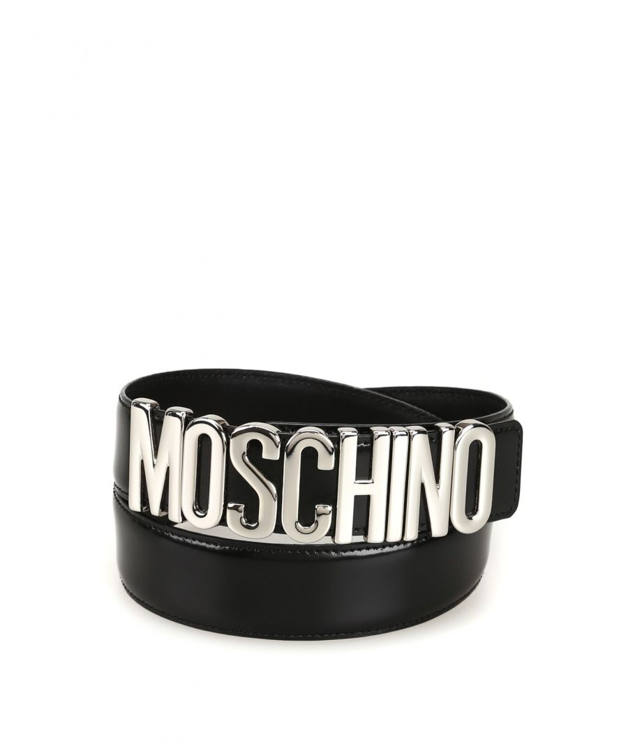 Image for MOSCHINO WOMEN'S A801280071555 BLACK LEATHER BELT
