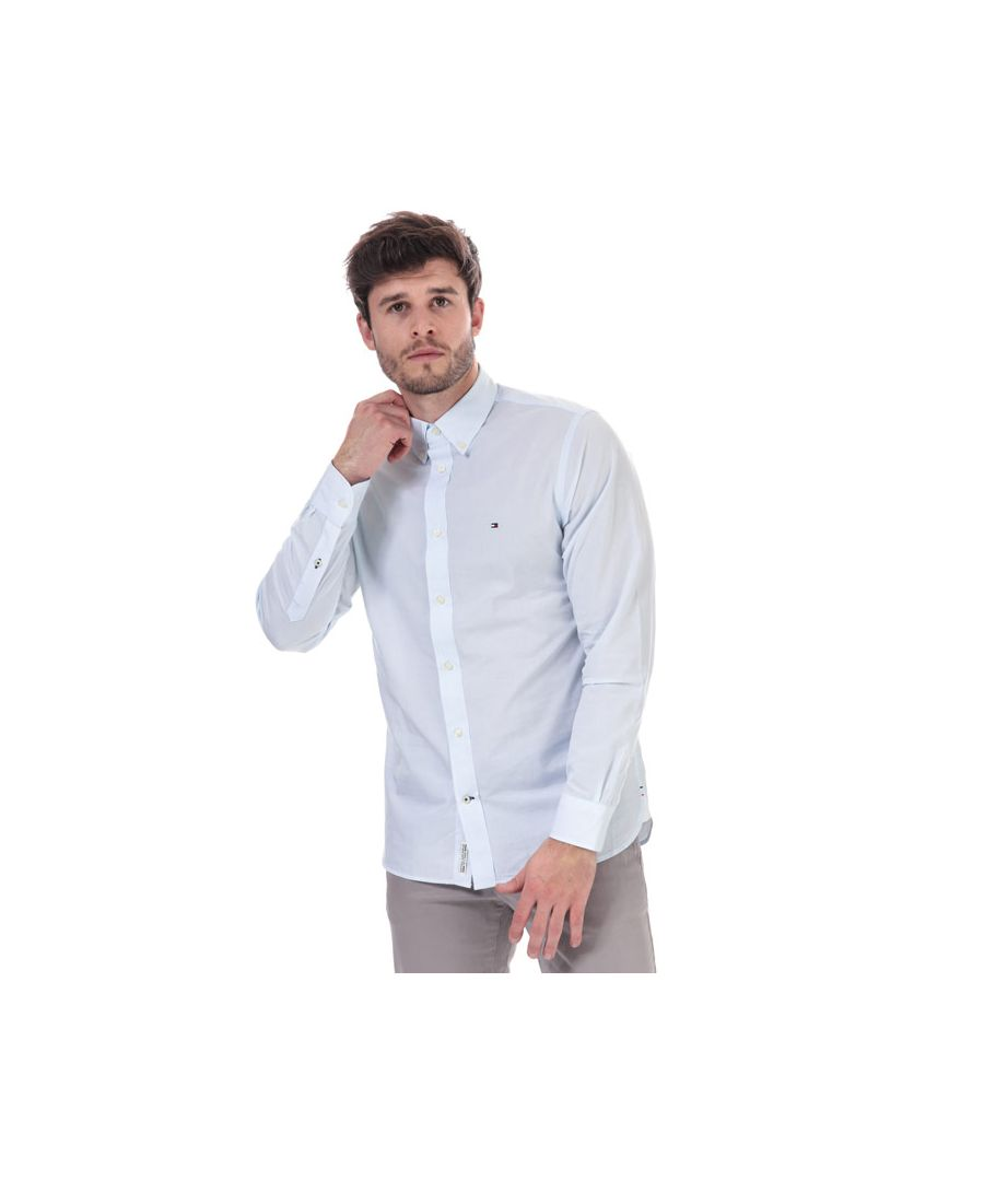 Image for Tommy Hilfiger Men's Soft Touch Pure Cotton Dobby Shirt in Blue