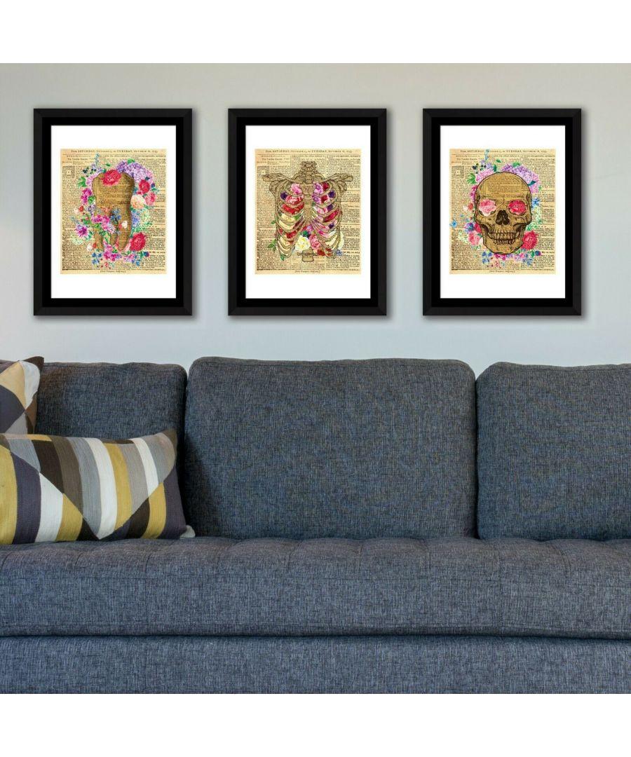 Image for Walplus Framed Art Flowery Skeleton wall decal, wall decal flowers, Framed Photo, Framed Art