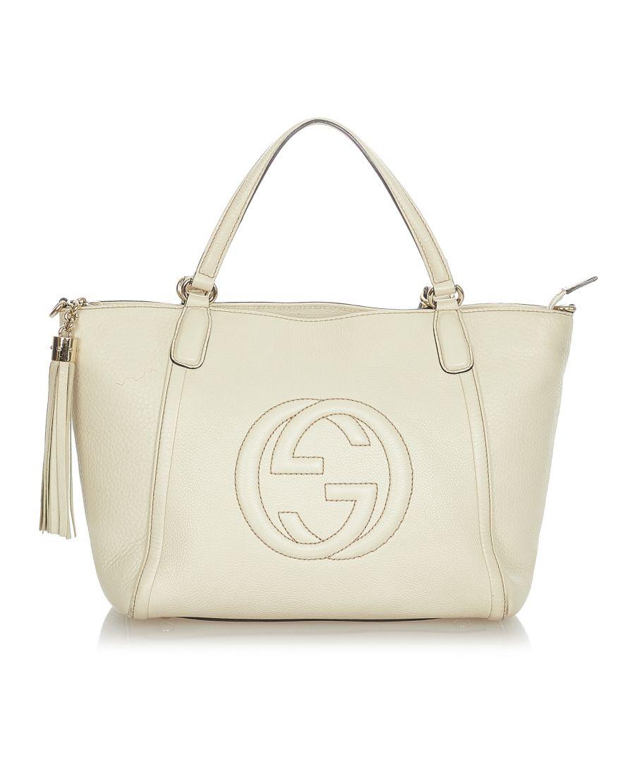 Image for Vintage Gucci Soho Cellarius Leather Handbag White
