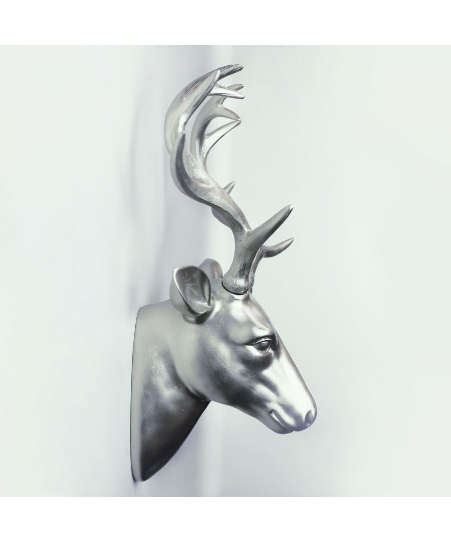 Image for Deer Head Wall Hanger - Silver Wall Art, Wall Art Living Room, Faux Taxidermy