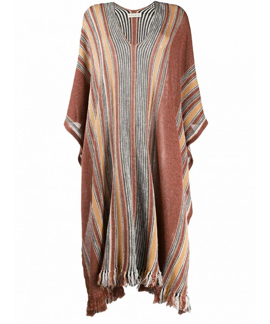 Image for ETRO WOMEN'S 1393897478000 BROWN LINEN PONCHO
