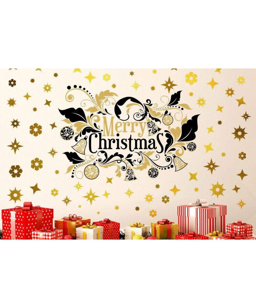 Image for Bright Merry Christmas with Golden Snowflakes  Christmas Wall Stickers, Kitchen, Bathroom, Living room, Self-adhesive, Decal