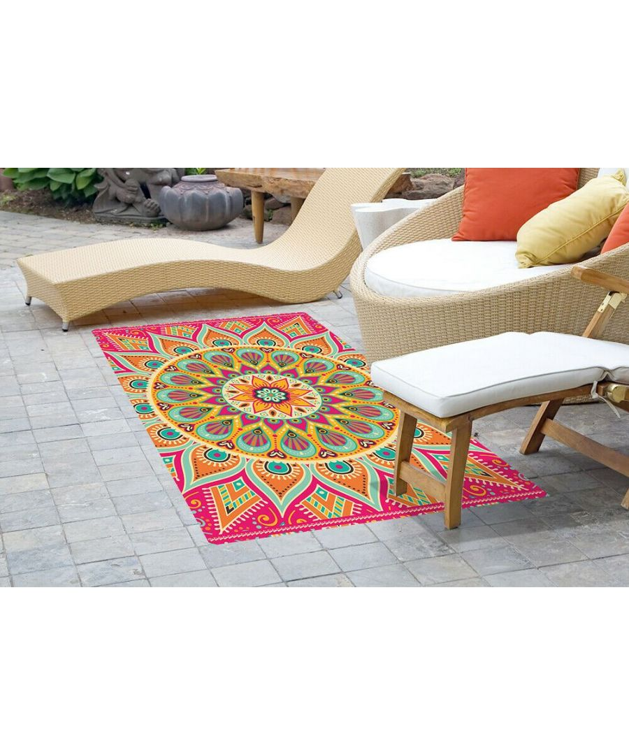 Image for Colourful Sunburst Mandala Mat 150 x 99 cm Floor Mats, Floor Rugs