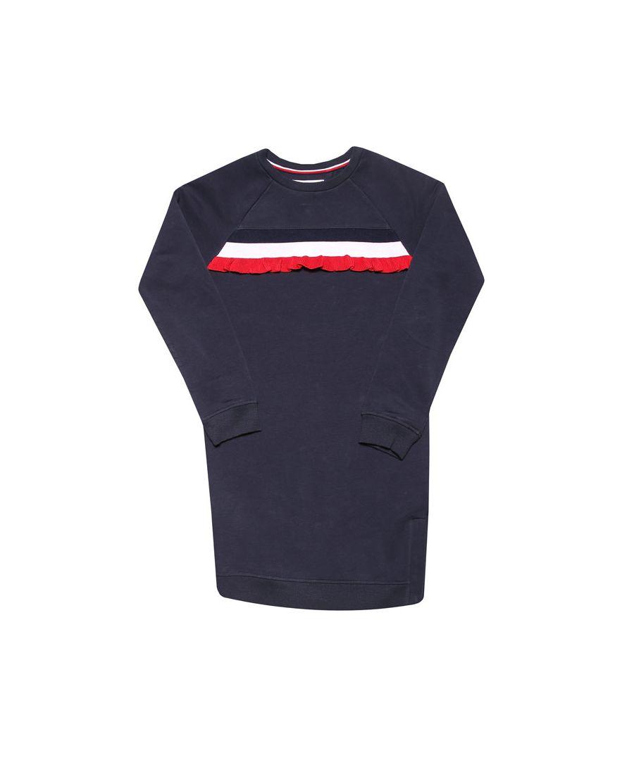 Image for Girls' Tommy Hilfiger Infant Ruffle Stripe Sweatshirt Dress in Navy