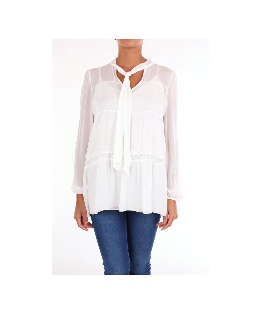 Image for PINK MEMORIES WOMEN'S 10628BIANCO WHITE SILK BLOUSE