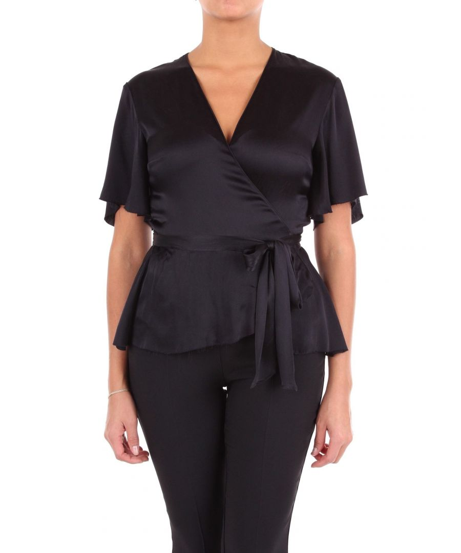 Image for JUCCA WOMEN'S J2912037L003 BLACK SILK BLOUSE