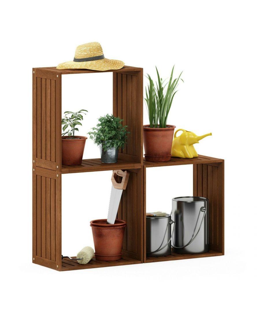 Image for Furinno Tioman Hardwood Multipurpose Stacking Shelf in Teak Oil, Natural, Garden furniture, Outdoor furniture