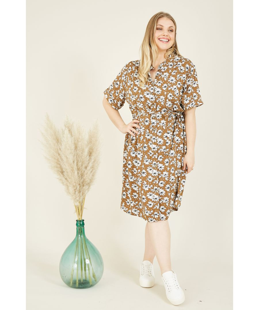 Image for Yumi Curve Brown Floral Shirt Dress