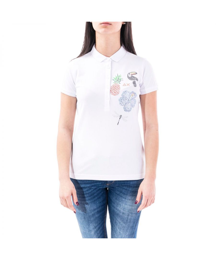 Image for SUN 68 WOMEN'S A3020501 WHITE COTTON POLO SHIRT