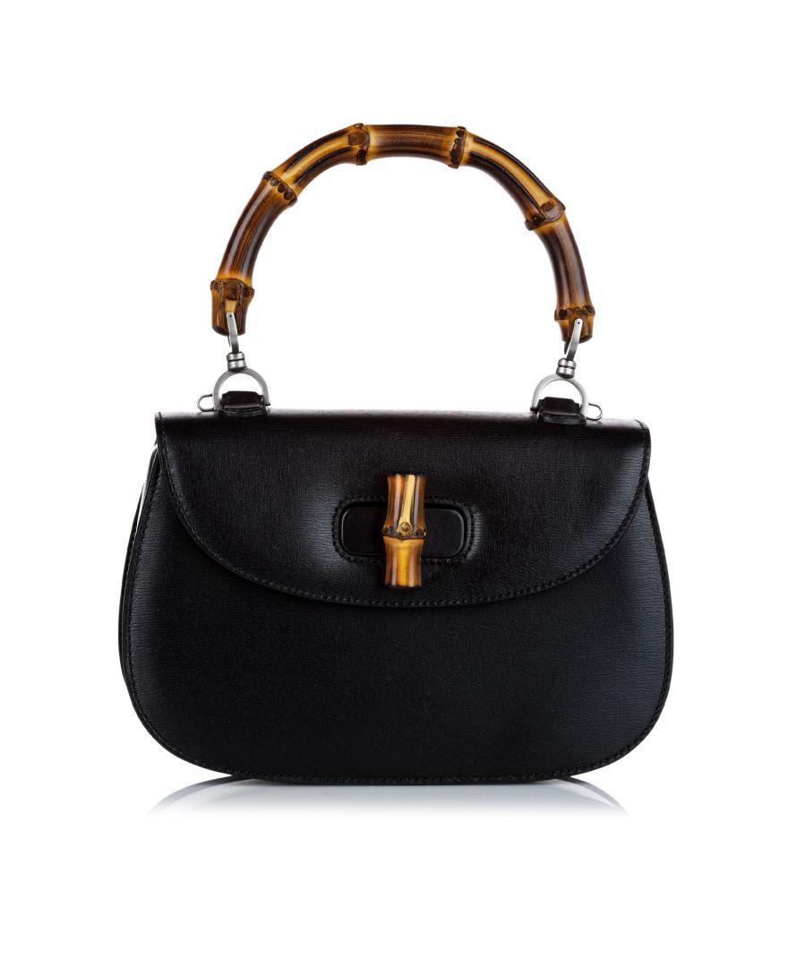 Image for Vintage Gucci Bamboo Night Leather Handbag Black