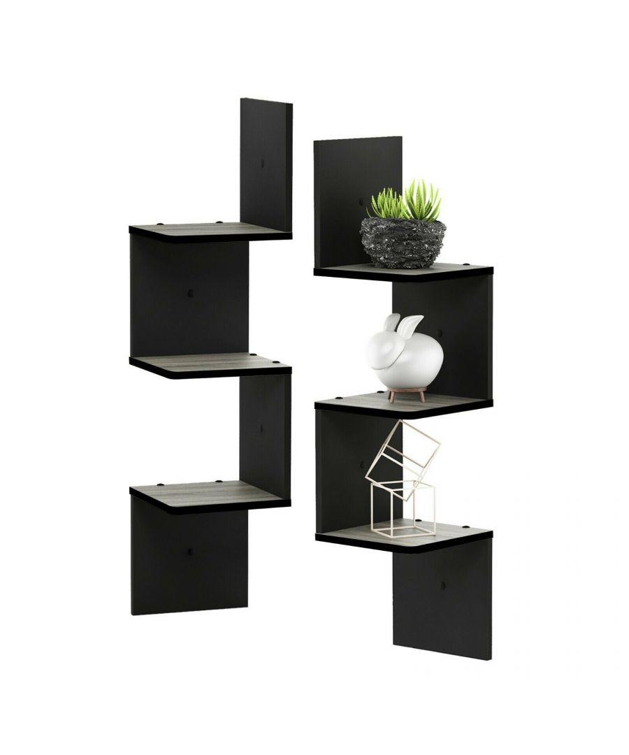 Image for Furinno Rossi 3-Tier Set of 2 Wall Mount Floating Corner Square Shelf, Black