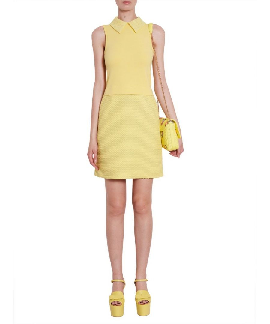 Image for BOUTIQUE MOSCHINO WOMEN'S A045311190024 YELLOW COTTON DRESS