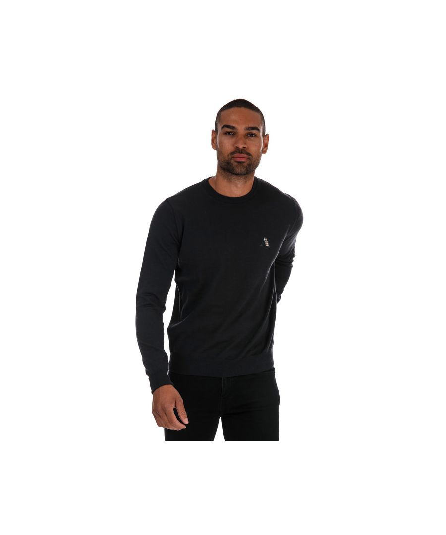 Image for Men's Aquascutum Check Logo Knitted Jumper in Grey