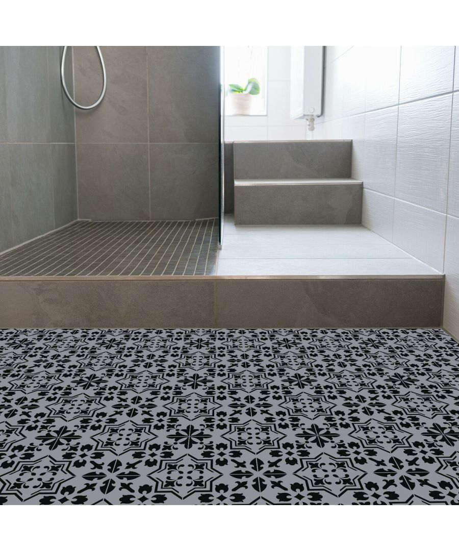 Image for WFS6019 - Dark Cement Seamless Floral Pattern Floor Stickers 120cm x 60 cm