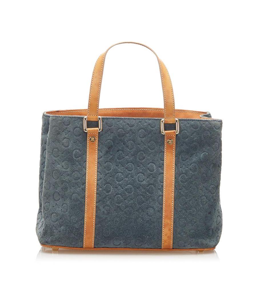 Image for Vintage Celine C Macadam Suede Handbag Blue
