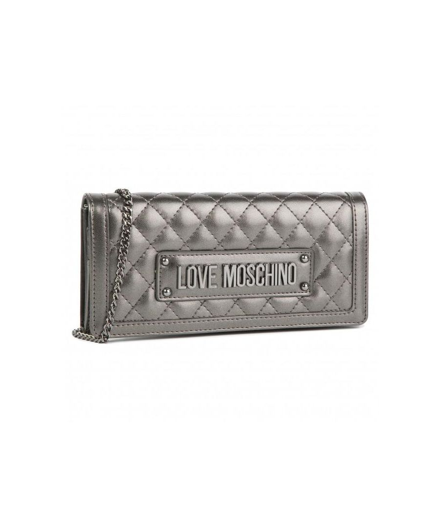 Image for Love Moschino Quilted Gold Chain Large Wallet in Grey