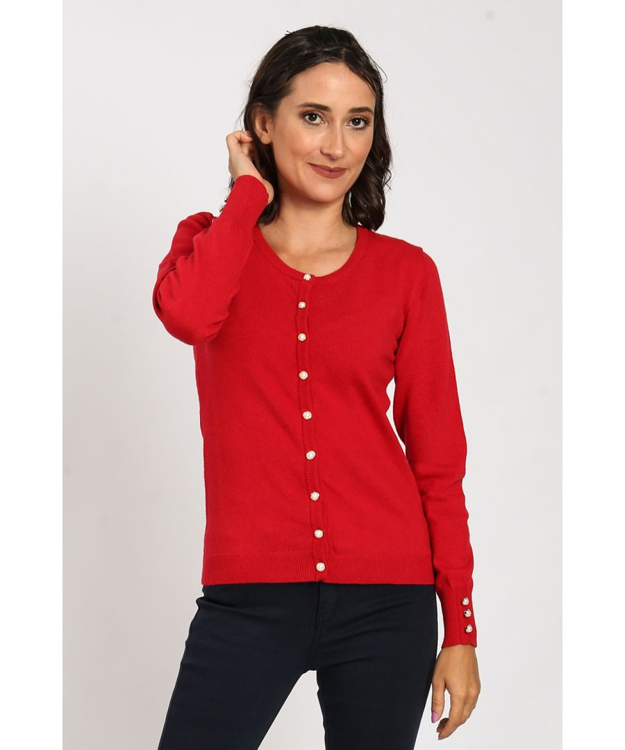 Image for Crew Neck Cardigan with Pearl Buttons